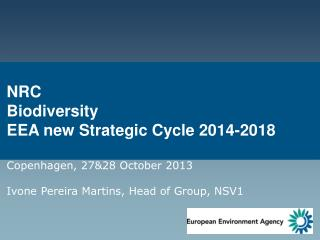 NRC Biodiversity EEA new Strategic Cycle 2014-2018 Copenhagen , 27&28 October  2013 Ivone  Pereira Martins, Head of Gro