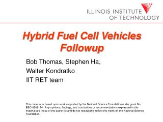 Hybrid Fuel Cell Vehicles Followup