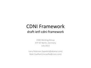 CDNI Framework draft- ietf - cdni -framework