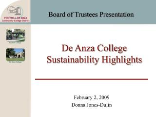 De Anza College Sustainability Highlights