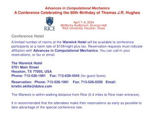 Advances in Computational Mechanics A Conference Celebrating the 60th Birthday of Thomas J.R. Hughes