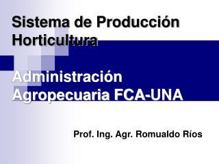 Sistema de Producción Horticultura Administración Agropecuaria FCA-UNA