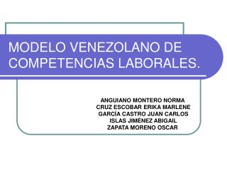 MODELO VENEZOLANO DE COMPETENCIAS LABORALES.