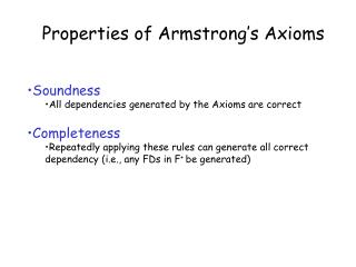 Properties of Armstrong's Axioms
