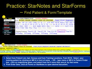 Practice: StarNotes and StarForms –  Find Patient & Form/Template