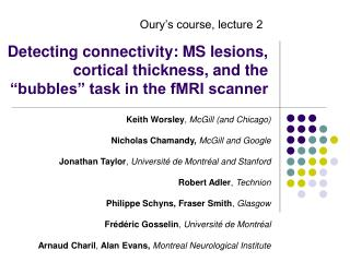 """Detecting connectivity: MS lesions, cortical thickness, and the """"bubbles"""" task in the fMRI scanner"""
