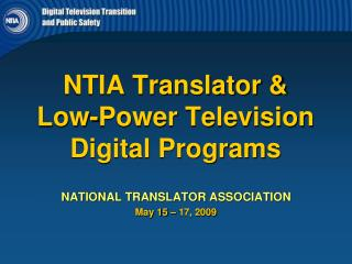NTIA Translator &  Low-Power Television Digital Programs
