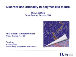 PhD student Ilia Malakhovski (thesis defense June 26) Funding Stichting FOM NWO Priority Programme on Materials