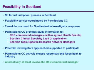 Feasibility in Scotland