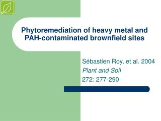 Phytoremediation of heavy metal and PAH-contaminated brownfield sites