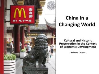China in a Changing World