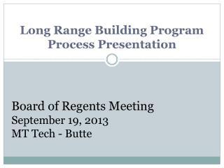 Long Range Building Program Process Presentation