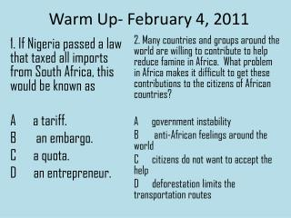 Warm Up- February 4, 2011