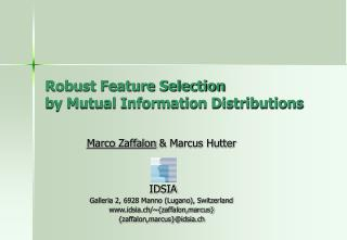 Robust Feature Selection  by Mutual Information Distributions