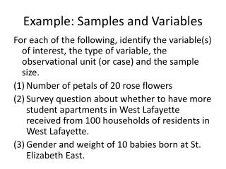 Example: Samples and Variables