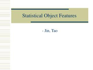 Statistical Object Features
