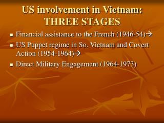 US involvement in Vietnam: THREE STAGES
