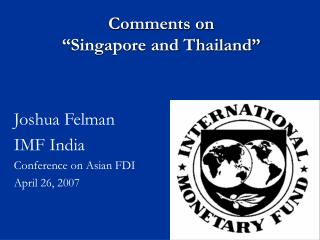 "Comments on  ""Singapore and Thailand"""