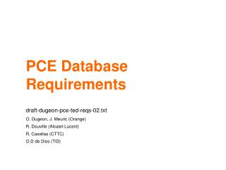 PCE Database Requirements