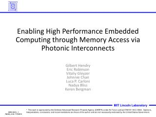 Enabling High Performance Embedded Computing through Memory Access via Photonic Interconnects