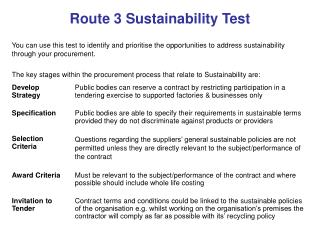 Route 3 Sustainability Test