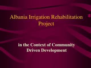 Albania Irrigation Rehabilitation Project