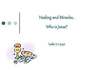Healing and Miracles.. Who is Jesus  Luke 7:1-9:50