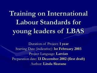 Training on International Labour Standards for young leaders of LBAS