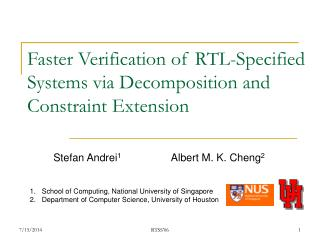 Faster Verification of RTL-Specified Systems via Decomposition and Constraint Extension