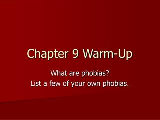 Chapter 9 Warm-Up