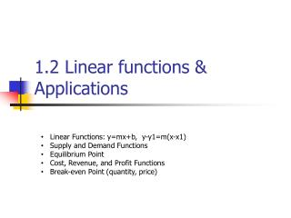 1.2 Linear functions & Applications