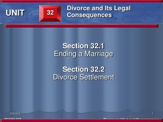 Section 32.1 Ending a Marriage  Section 32.2 Divorce Settlement