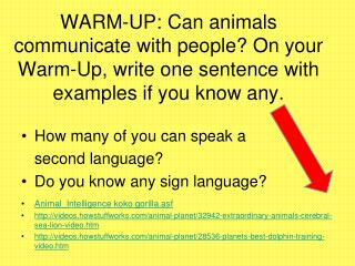 WARM-UP: Can animals communicate with people? On your Warm-Up, write one sentence with examples if you know any.