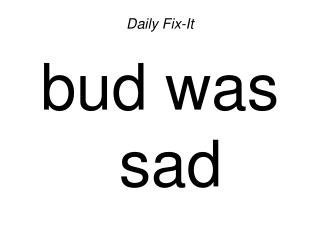 Daily Fix-It bud was sad