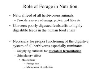 Role of Forage in Nutrition