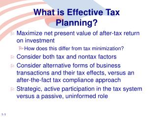 What is Effective Tax Planning?