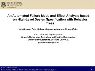 An Automated Failure Mode and Effect Analysis based on High-Level Design Specification with Behavior Trees