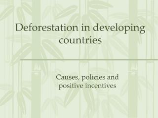 Deforestation in developing countries