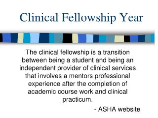 Clinical Fellowship Year