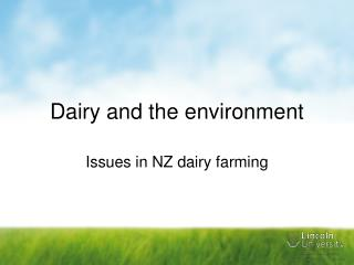 Dairy and the environment