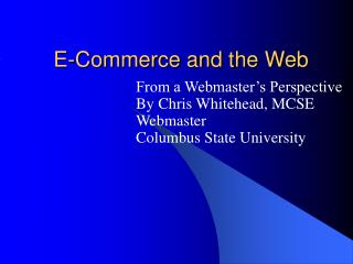 E-Commerce and the Web