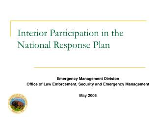 Interior Participation in the  National Response Plan