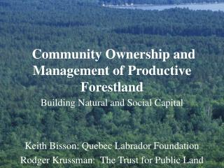 Community Ownership and Management of Productive Forestland