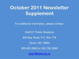 October 2011 Newsletter Supplement