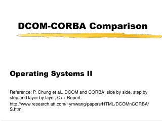 DCOM-CORBA Comparison