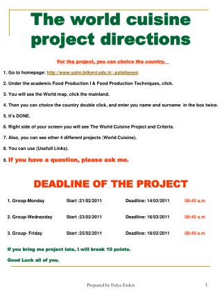 The world cuisine project directions