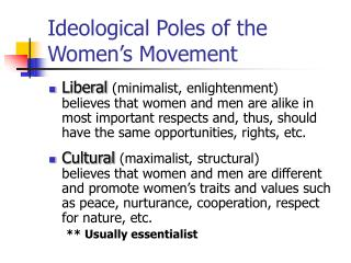 Ideological Poles of the Women's Movement