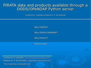 PIRATA data and products available through a DODS/OPeNDAP Python server