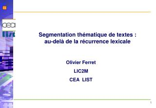 Segmentation thématique de textes : au-delà de la récurrence lexicale