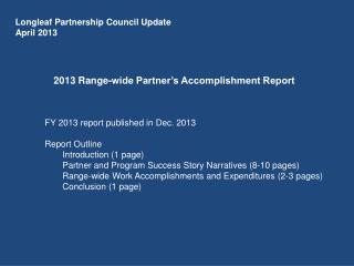2013 Range-wide Partner's Accomplishment Report